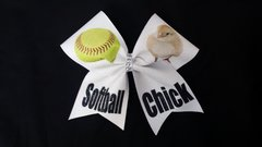 Softball Chick Bow