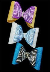 Rhinestone & Glitter Double Tailless Chloe Cheer Bow - all colors available