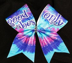 Good Vibes Only Tie Dye Cheer Bow