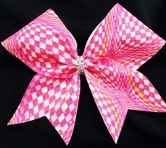Pink Checkers Cheer Bow