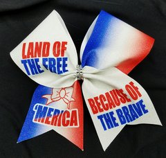 Land of The Free Glitter Cheer Bow
