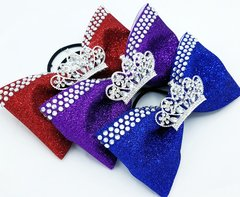Glitter Rhinestone Tiara Tailless Cheer Bow - All Colors