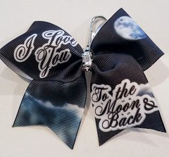 I Love You To The Moon and Back Mini Ribbon Keychain Bow