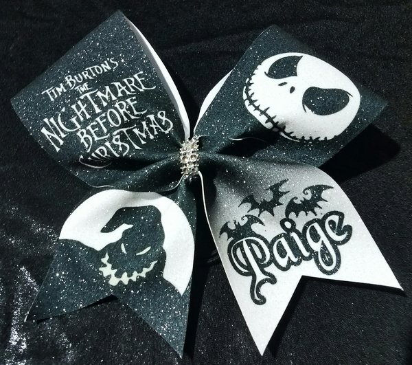 The Nightmare Before Christmas Glitter Cheer Bow | Cheer Bow Factory