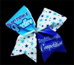 You earn trophies at Practice You pick them up at Competition Glitter Vinyl Cheer Bow