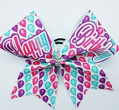 Happy Birthday Glitter Cheer Bow