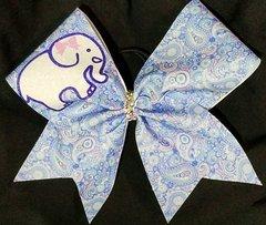Bowella Elephant Paisley Glitter Cheer Bow