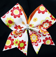 Retro Floral Fabric Cheer Bow