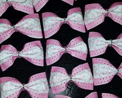 Breast Cancer Awareness Rhinestone Glitter Tailless Cheer Bow