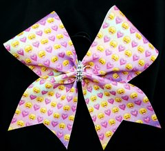 Heart Emoji Glitter Cheer Bow