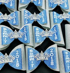 Summit 2018 Princess Rhinestone Tiara Double Tailless Cheer Bow