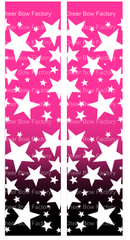 Stars Ombre Hot Pink Black Cheer Bow Ready to Press Sublimation Graphic