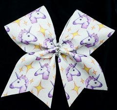 Unicorn Emoji Glitter Cheer Bow