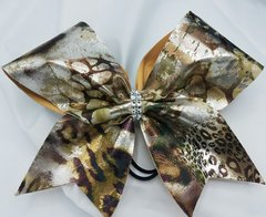 Gold Animal Print Fabric Cheer Bow