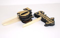 Black & Gold Seventy Cupcake Toppers