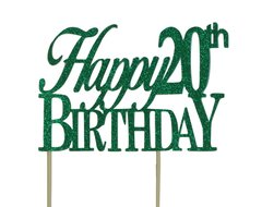 Green Happy 20th Birthday Cake Topper
