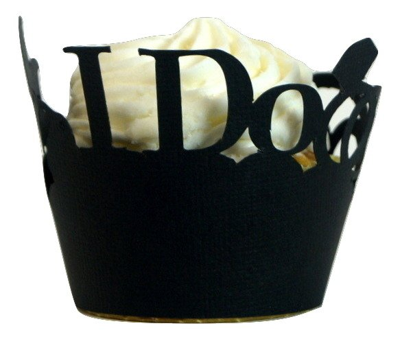 Black I Do & Wedding Rings Cupcake Wrappers