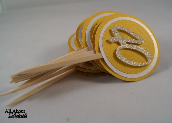 Gold 40 Cupcake Toppers