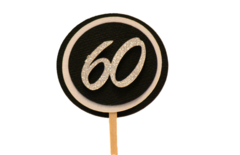 Black & White 60 Cupcake Toppers