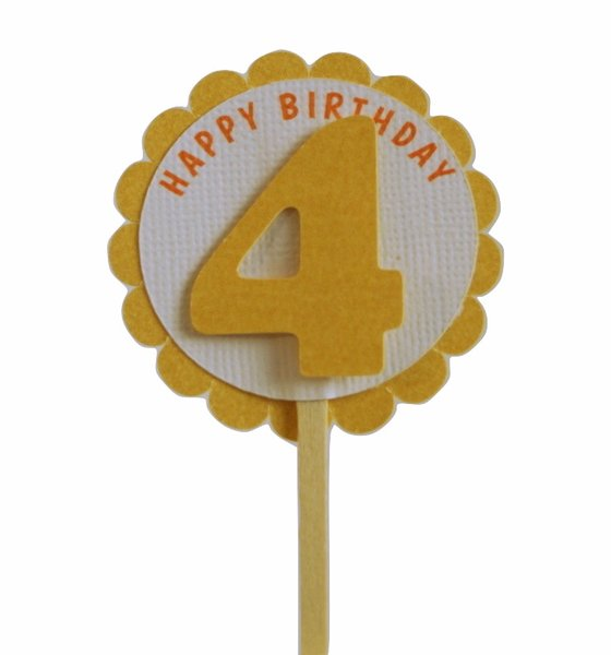 Shimmer Gold 4th Birthday Cupcake Toppers