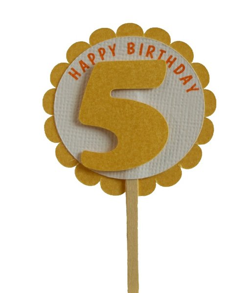 Shimmer Gold 5th Birthday Cupcake Toppers
