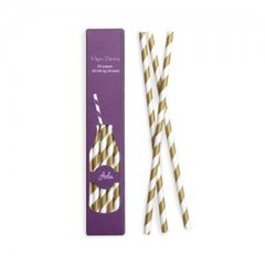 Stripes Paper Straws Gold Crush 24pc