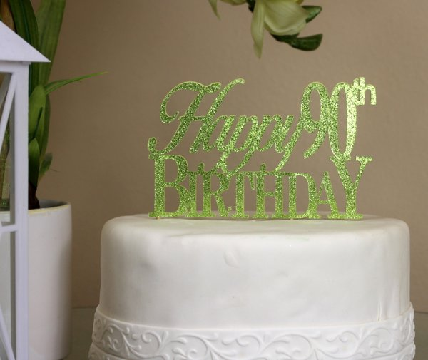 Al About Details Lime Green Happy 90th Birthday Cake Topper All
