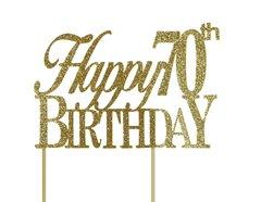 Gold Happy 70th Birthday Cake Topper