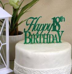 Green Happy 18th Birthday Cake Topper