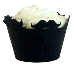Black Mustache Cupcake Wrappers