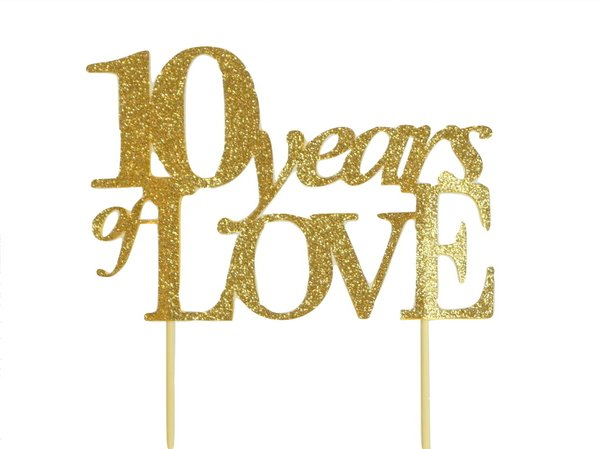 Gold 10 Years of Love Cake Topper