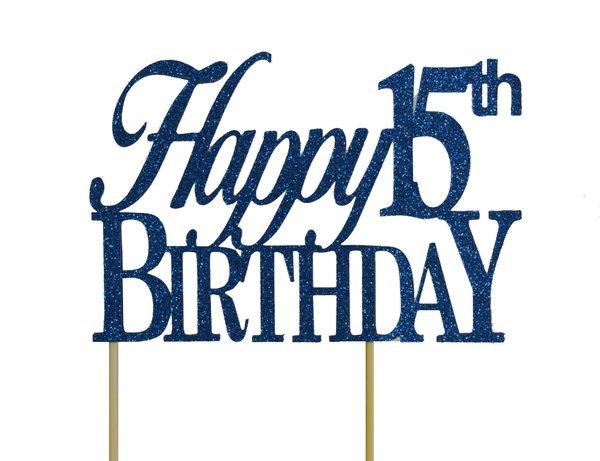 Blue Happy 15th Birthday Cake Topper