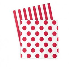 Dots & Stripes Napkins Red Spot 20PC