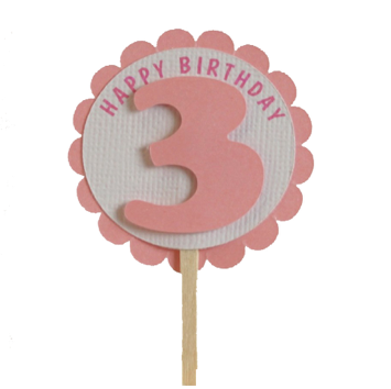 Shimmer Pink 3rd Birthday Cupcake Toppers