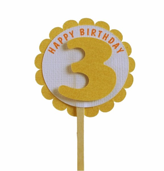 Shimmer Gold 3rd Birthday Cupcake Toppers