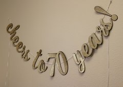 Black & Gold Cheers to 70 Years! Cursive Banner