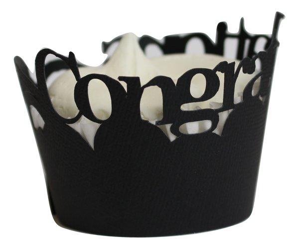 Black Congratulations Cupcake Wrappers