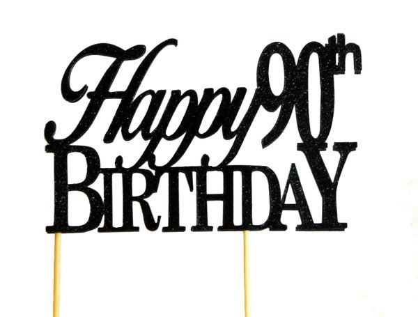 All About Details Black Happy 90th Birthday Cake Topper All