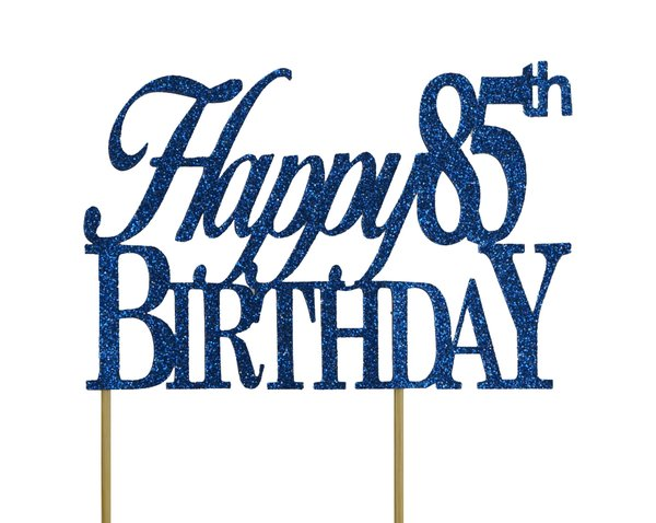 Blue Happy 85th Birthday Cake Topper