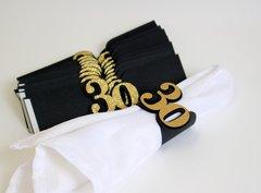 Black & Gold 30 Napkin Holders, 12pcs