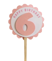 Shimmer Pink 6th Birthday Cupcake Toppers