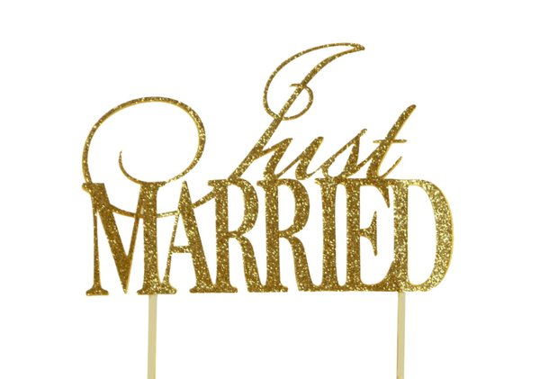 Gold Just Married Cake Topper