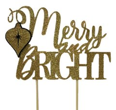Black & Gold Merry & Bright Cake Topper, 1pc