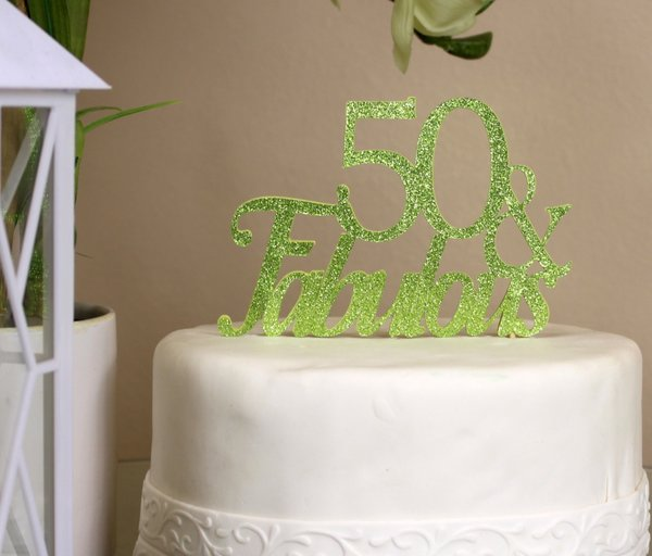 All About Details Lime Green 50 Fabulous Cake Topper All About
