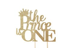 Gold The Prince is One Cake Topper, 1pc