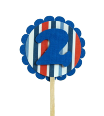 Blue & Stripes 2 Cupcake Toppers