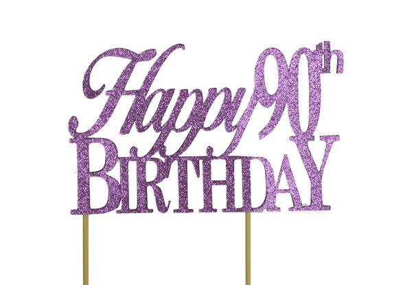 Purple Happy 90th Birthday Cake Topper