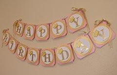 Shimmer Pink & Gold Princess Theme Happy Birthday Banner