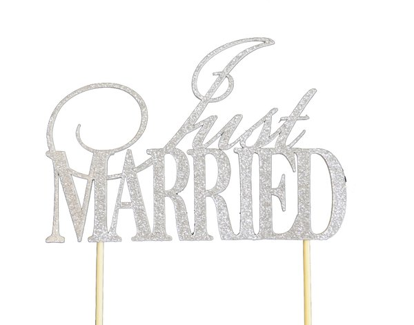 Silver Just Married Cake Topper