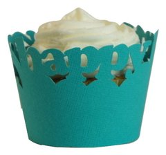 Teal Happy Birthday Cupcake Wrappers